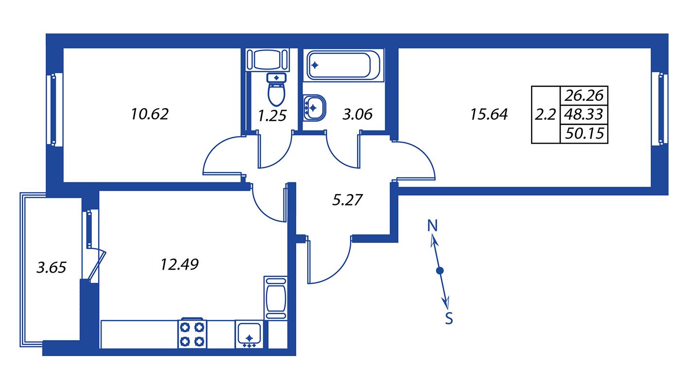 Планировка Трёхкомнатная квартира площадью 48.4 кв.м в ЖК ««Краски лета»:-:ЖК Краски лета, дом 12»
