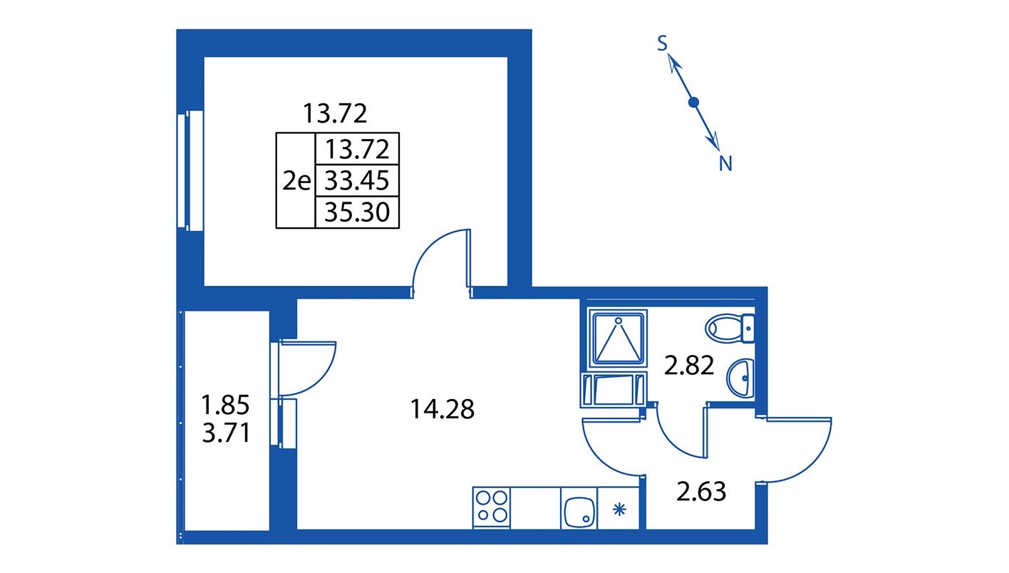 Планировка Двухкомнатная квартира площадью 33.5 кв.м в ЖК ««Краски лета»:-:ЖК Краски лета, дом 13»
