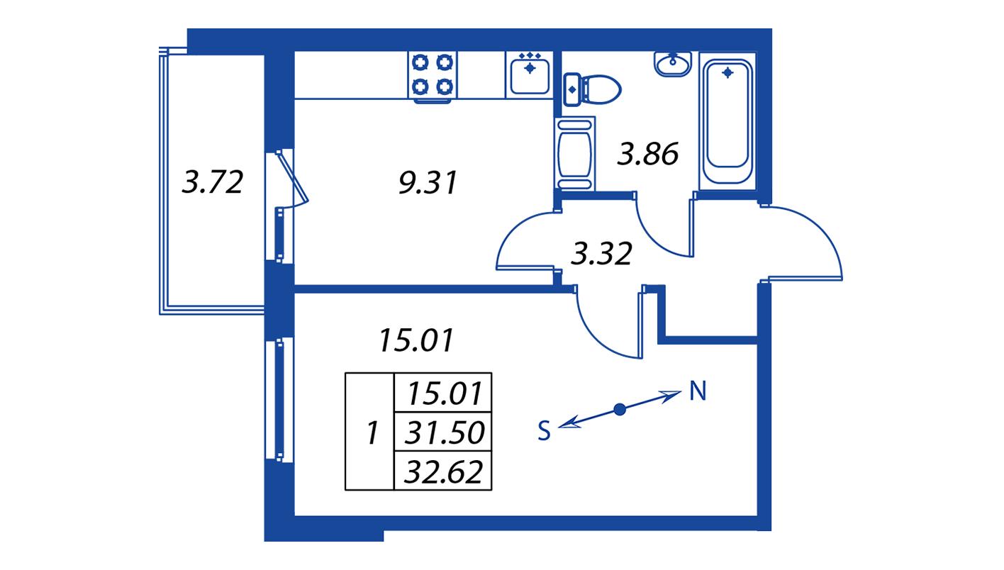 Планировка Однокомнатная квартира площадью 31.5 кв.м в ЖК ««Краски лета»:-:ЖК Краски лета, дом 12»