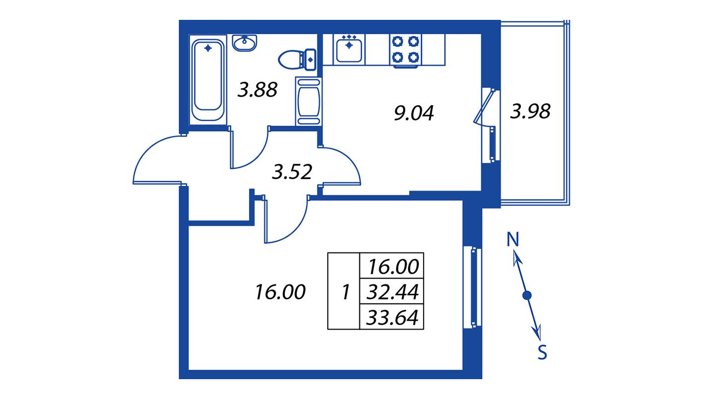 Планировка Однокомнатная квартира площадью 32.4 кв.м в ЖК ««Краски лета»:-:ЖК Краски лета, дом 12»