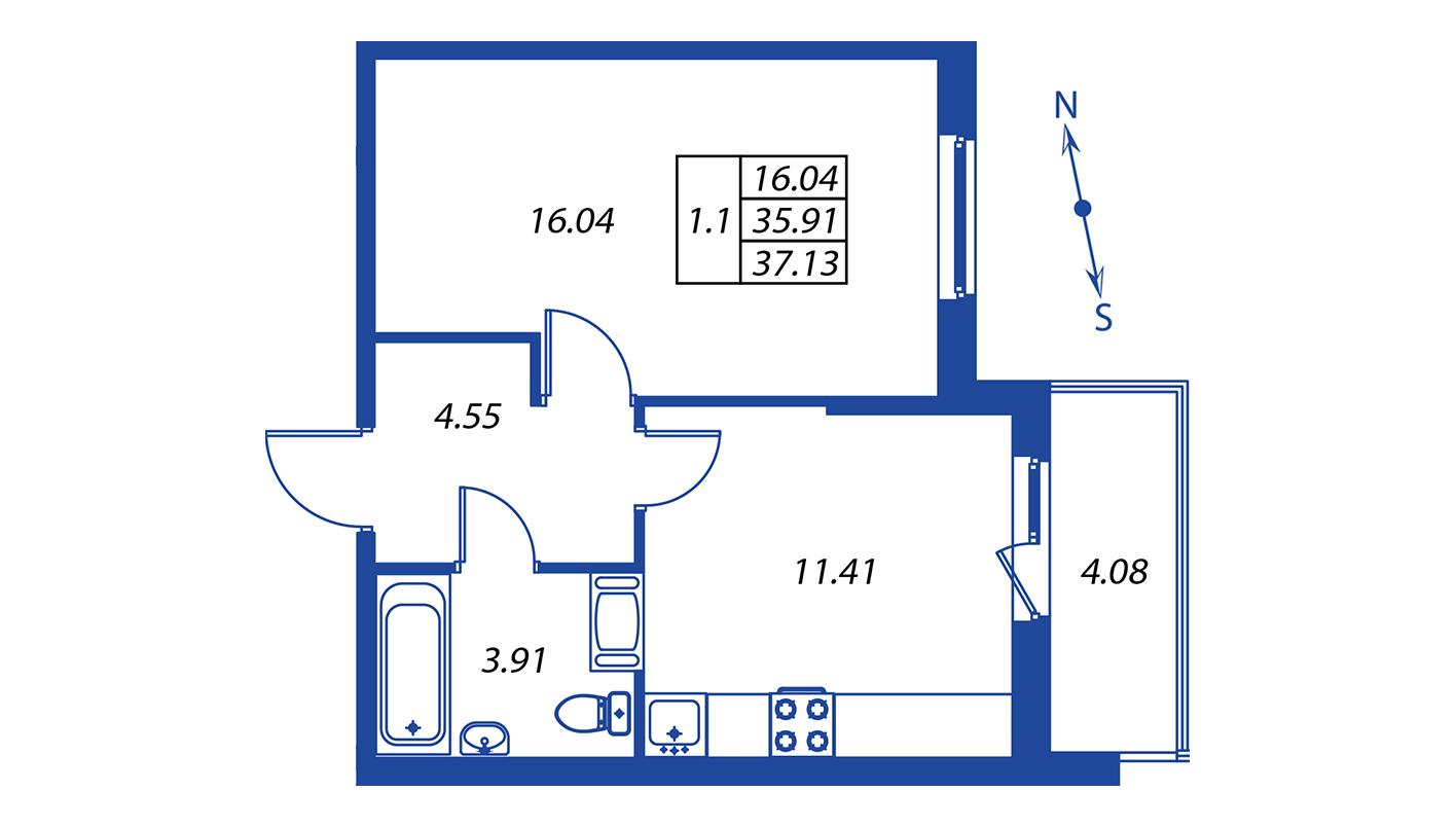 Планировка Однокомнатная квартира площадью 35.9 кв.м в ЖК ««Краски лета»:-:ЖК Краски лета, дом 12»