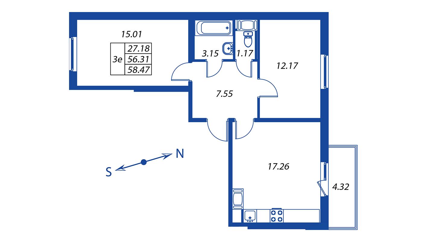 Планировка Трёхкомнатная квартира площадью 56.3 кв.м в ЖК ««Краски лета»:-:ЖК Краски лета, дом 12»
