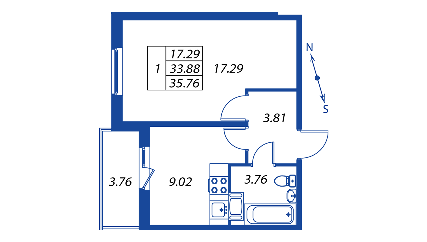 Планировка Однокомнатная квартира площадью 33.9 кв.м в ЖК ««Краски лета»:-:ЖК Краски лета, дом 12»