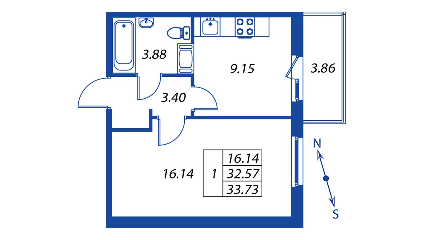 Планировка Однокомнатная квартира площадью 32.6 кв.м в ЖК ««Краски лета»:-:ЖК Краски лета, дом 12»