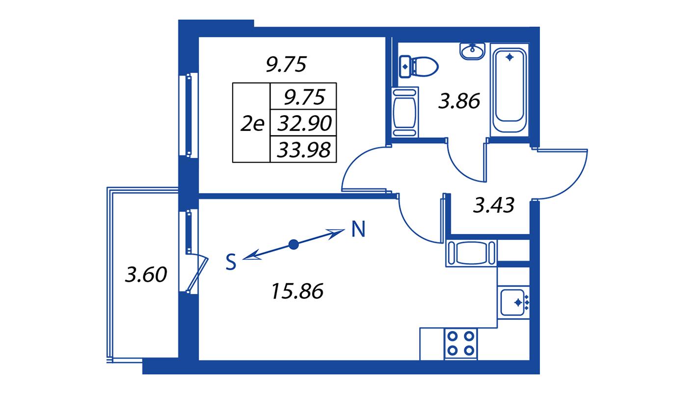 Планировка Двухкомнатная квартира площадью 32.9 кв.м в ЖК ««Краски лета»:-:ЖК Краски лета, дом 12»