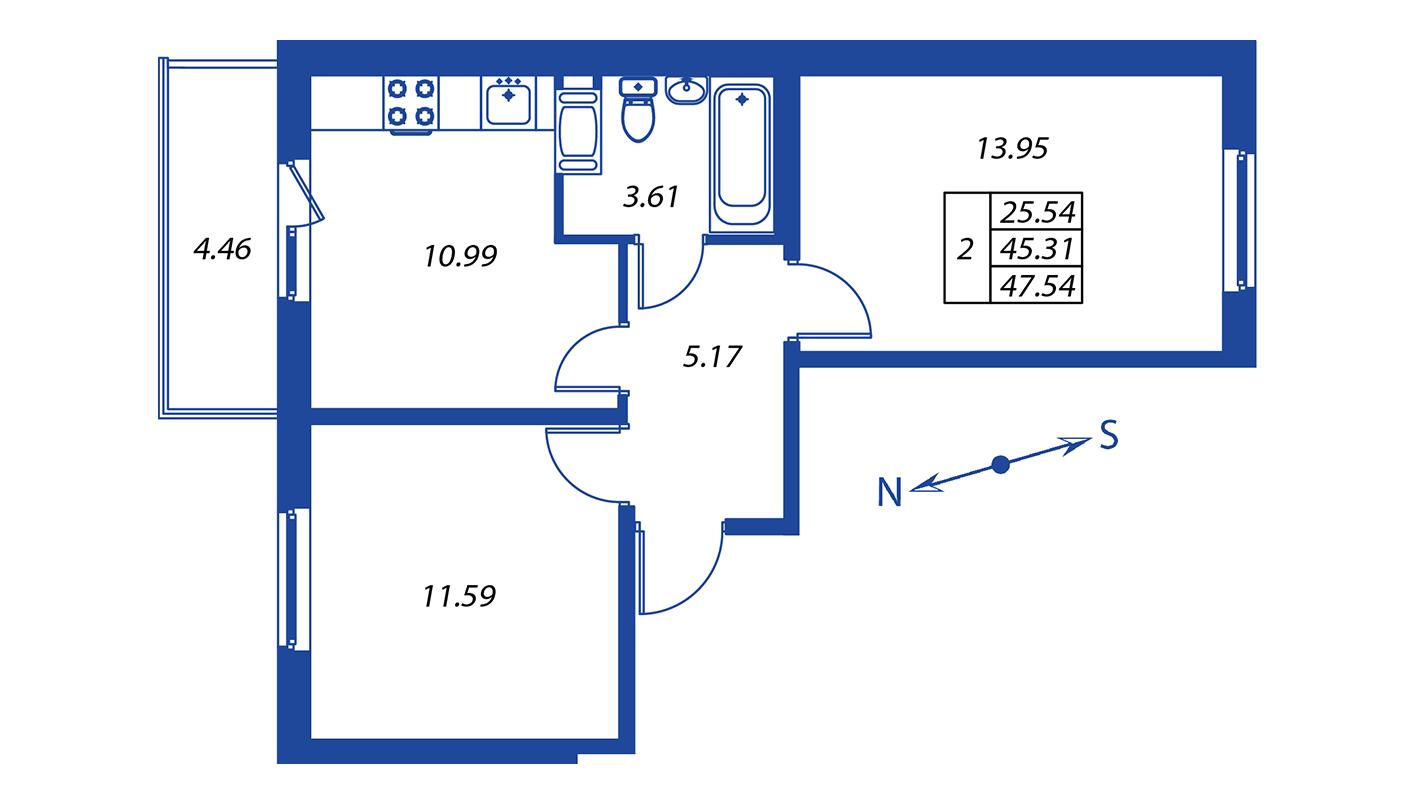 Планировка Двухкомнатная квартира площадью 45.3 кв.м в ЖК ««Краски лета»:-:ЖК Краски лета, дом 12»