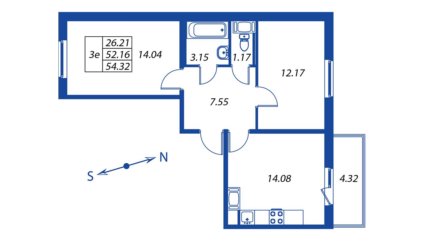 Планировка Трёхкомнатная квартира площадью 52.2 кв.м в ЖК ««Краски лета»:-:ЖК Краски лета, дом 12»