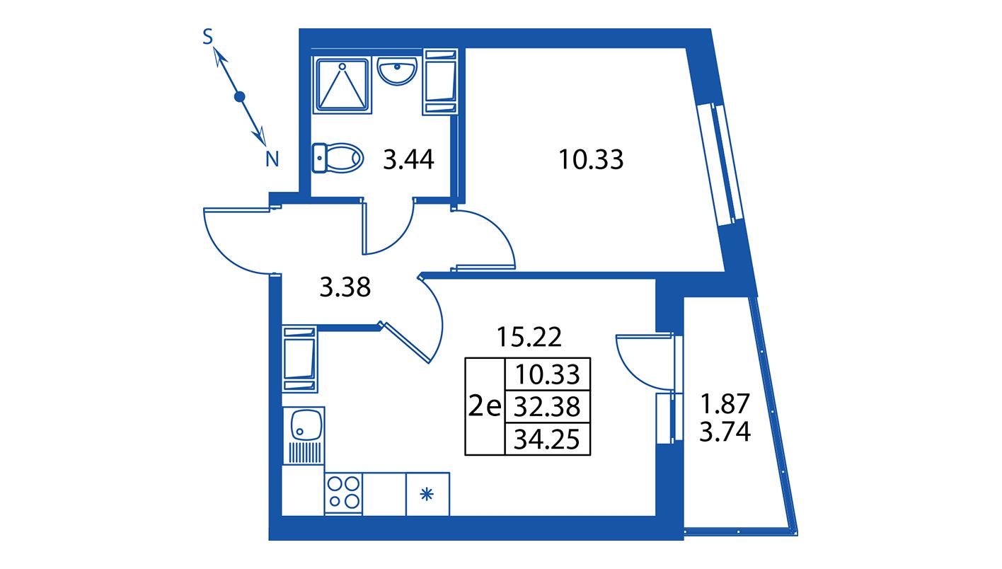 Планировка Двухкомнатная квартира площадью 32.4 кв.м в ЖК ««Краски лета»:-:ЖК Краски лета, дом 13»