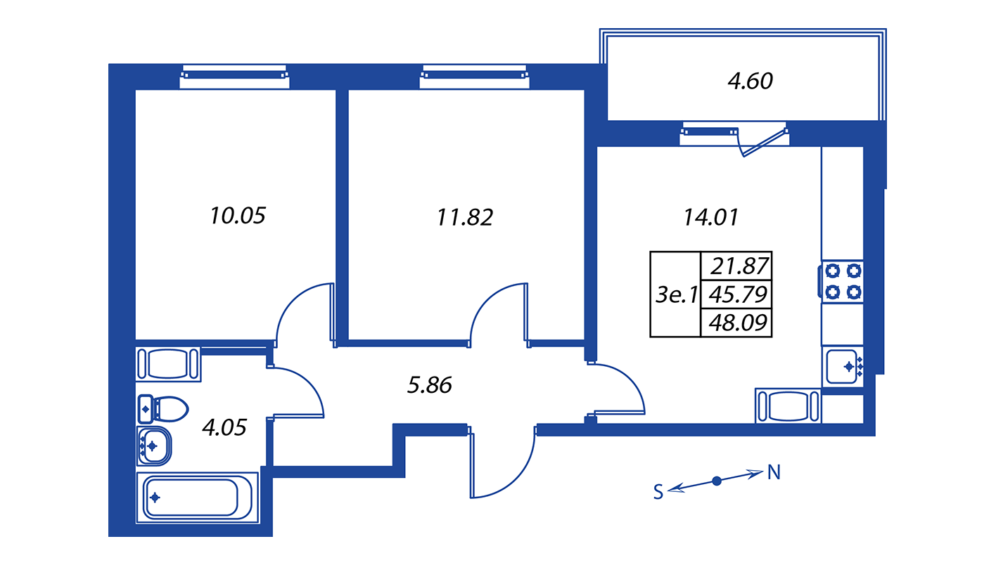 Планировка Трёхкомнатная квартира площадью 45.8 кв.м в ЖК ««Краски лета»:-:ЖК Краски лета, дом 12»
