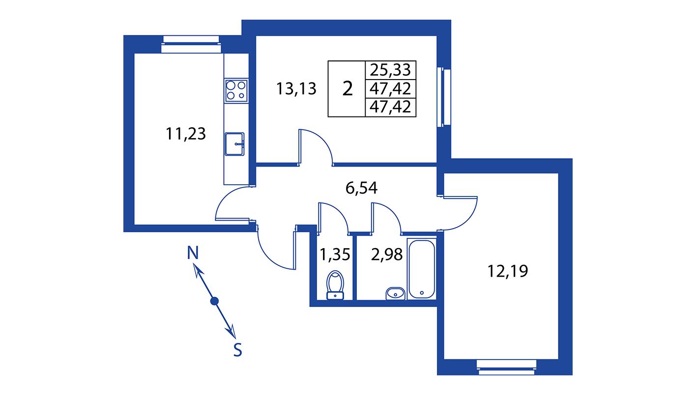 Планировка Двухкомнатная квартира площадью 47.4 кв.м в ЖК ««Краски лета»:-:ЖК Краски лета, дом 9»