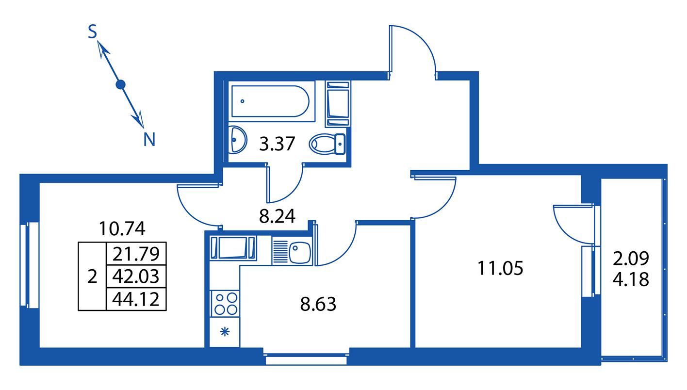 Планировка Двухкомнатная квартира площадью 42 кв.м в ЖК ««Краски лета»:-:ЖК Краски лета, дом 13»