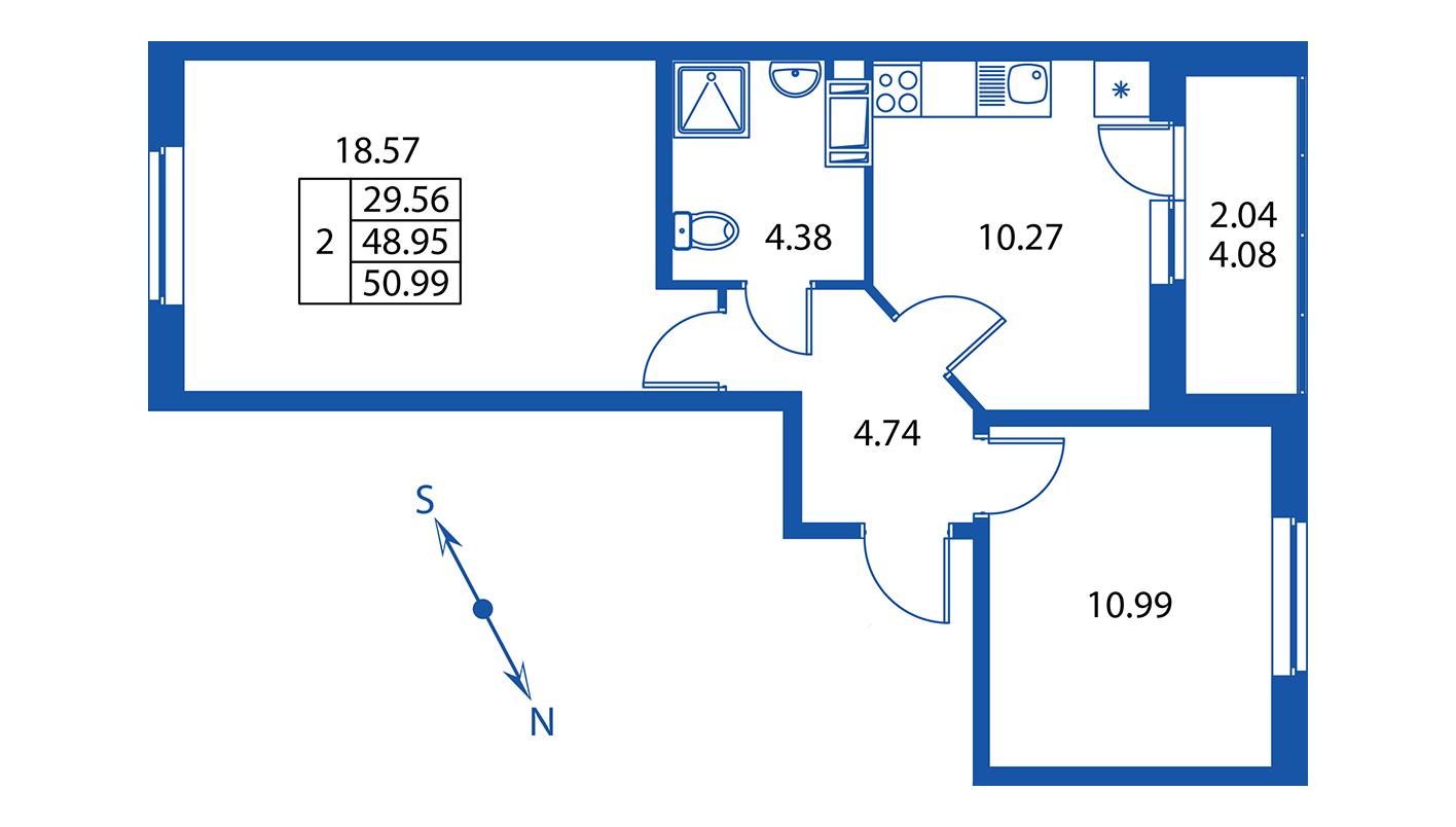 Планировка Двухкомнатная квартира площадью 49 кв.м в ЖК ««Краски лета»:-:ЖК Краски лета, дом 13»