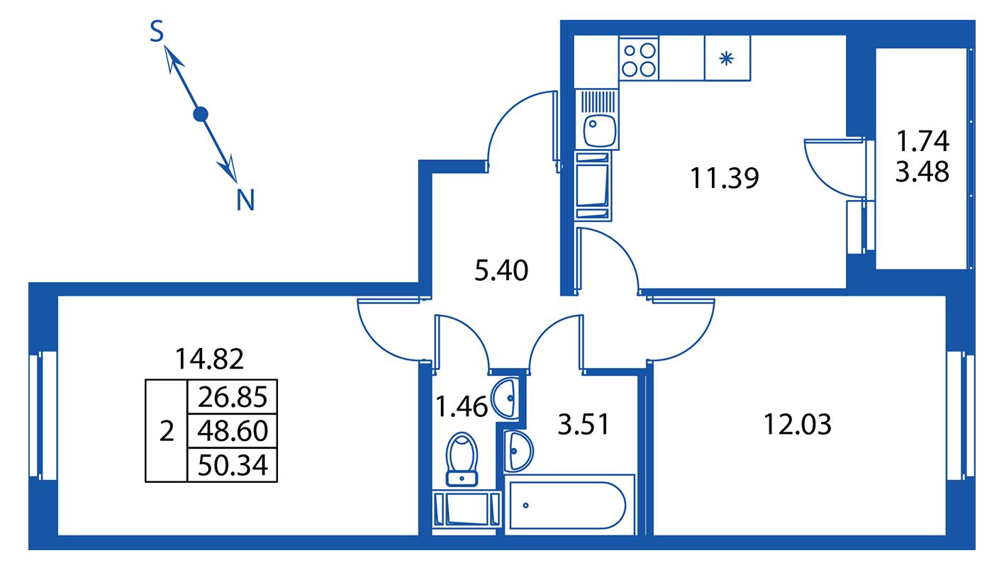 Планировка Двухкомнатная квартира площадью 48.6 кв.м в ЖК ««Краски лета»:-:ЖК Краски лета, дом 13»
