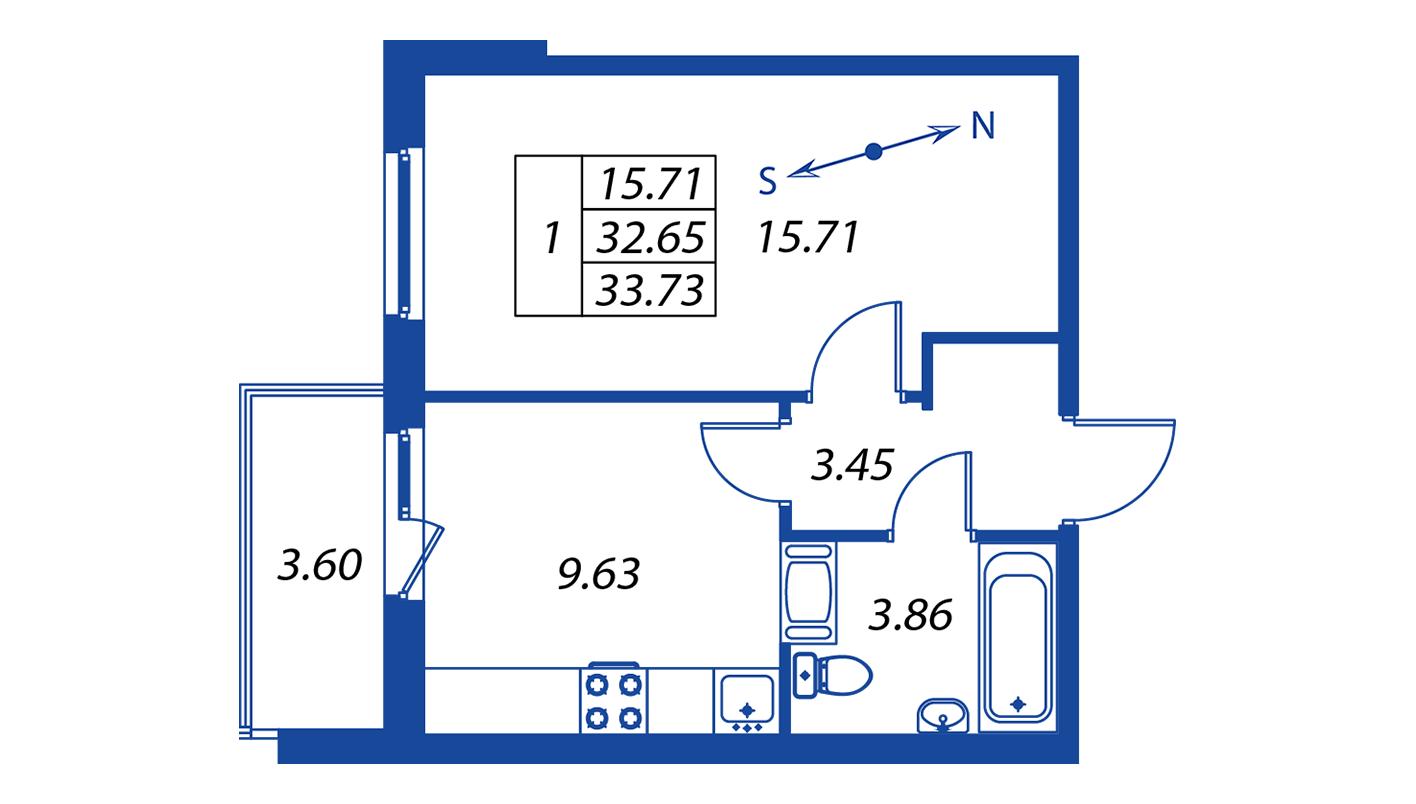Планировка Однокомнатная квартира площадью 32.7 кв.м в ЖК ««Краски лета»:-:ЖК Краски лета, дом 12»